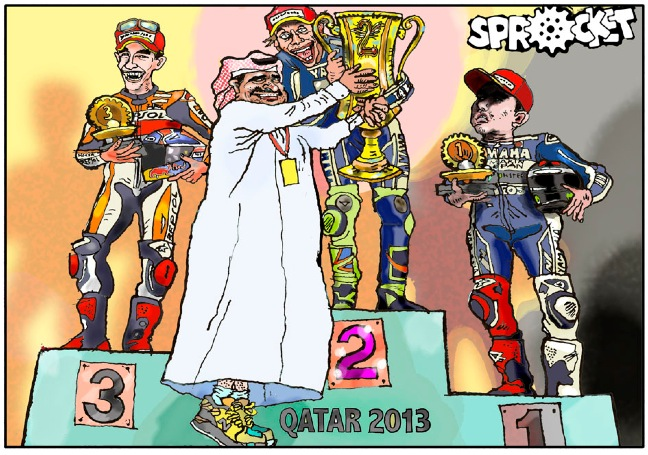 Qatar 2013.Jorge's win eclipsed by Rossi's 2nd place Yamaha return.